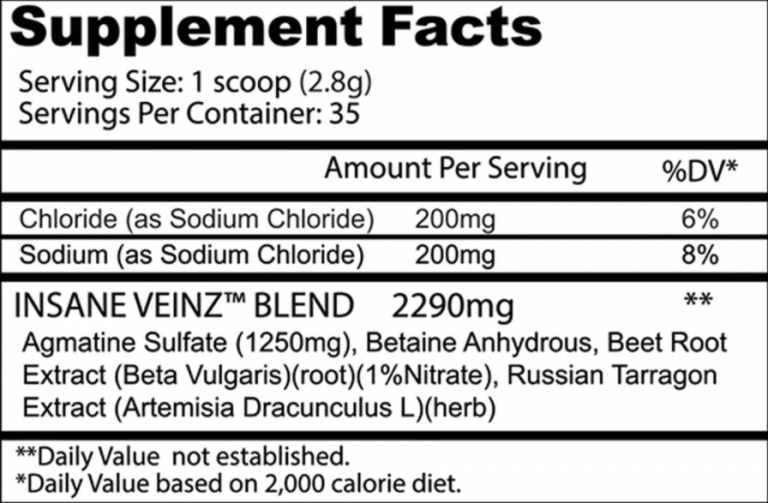 Insane Veinz Formula and ingredients