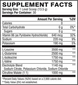 Xtend BCAA Original Ingredients